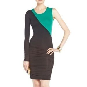 BCBG One Sleeve Body Con Color Blocked Marni Dress